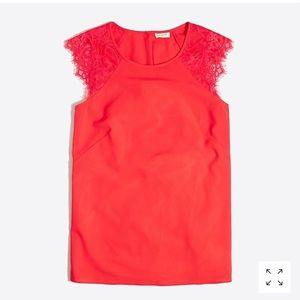 J. Crew Factory Red Women's Sleeveless Lace Top